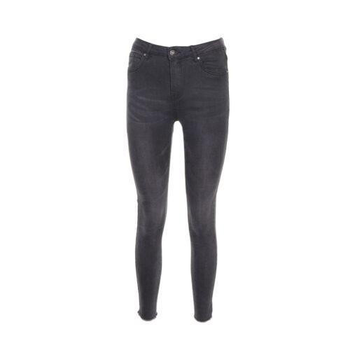 Jeans skinny lavaggio grigio con fondo sfrangiato. Vita alta.
