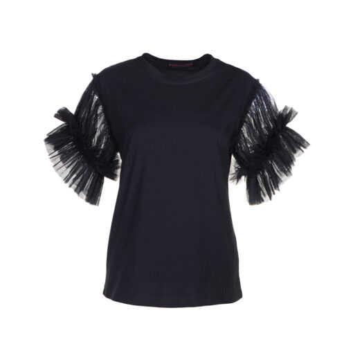 T-shirt con manica in tulle arricciata con 3 balze.
