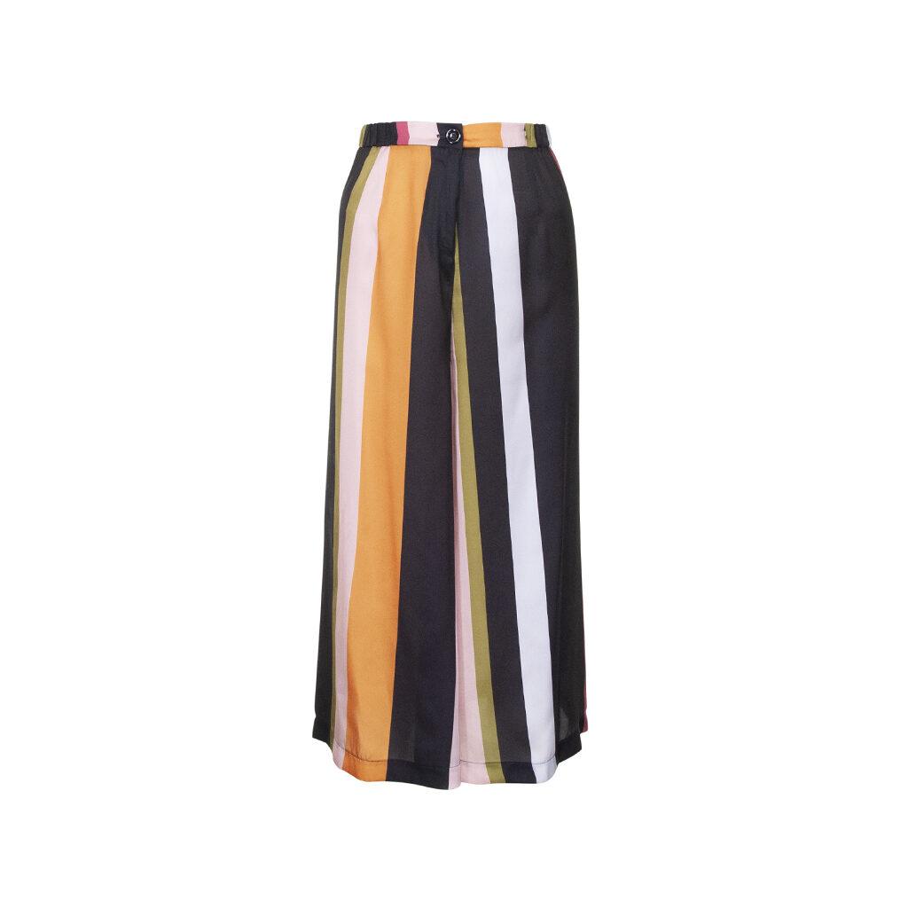 Pantalone culotte in raso a vita alta con chiusura con bottone e zip
