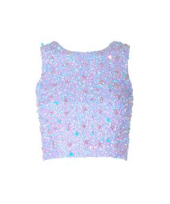 Top crop ricamato in paillettes.