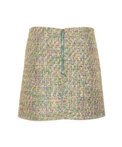 Minigonna a trapezio in tweed. Zip a vista sul retro.