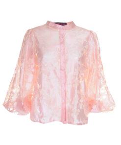 Camicia coreana con tessuto floreale effetto nude look. Manica a sbuffo.