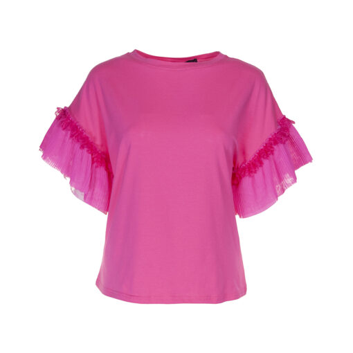 T-shirt a scatoletta con manica raglan dettagli ricamati in pizzo e  tessuto plissettato.