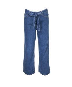 Jeans palazzo lavaggio medio con fiocco