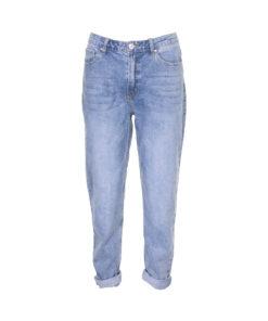 Jeans taglio mom lavaggio chiaro. Vita alta