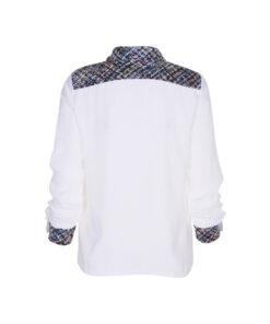 Camicia con colletto con inserti in tessuto chanel sul colletto e lungo i bordi